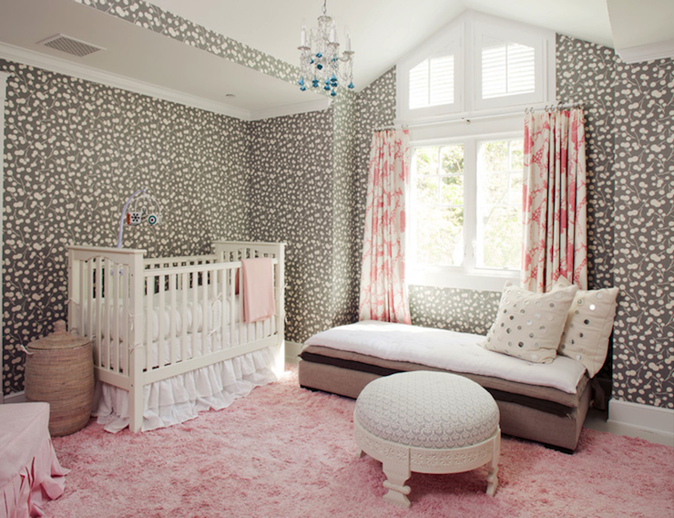 Gorgeous Pink And Gray Nursery Features White And Gray Print Wallpaper  Framing A Traditional White Crib Dressed Win White Ruffle Bedding Beside A  Woven ...