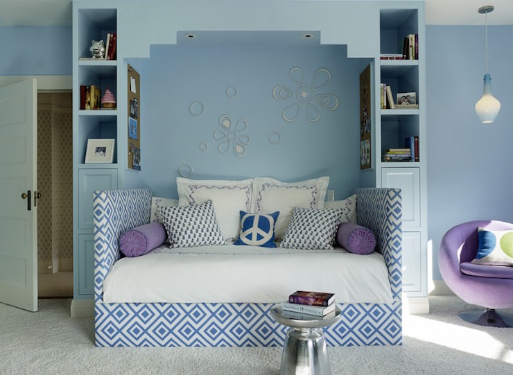 Blue girls bedroom ideas transitional girl 39 s room palmer weiss - Girls bedroom ideas blue ...