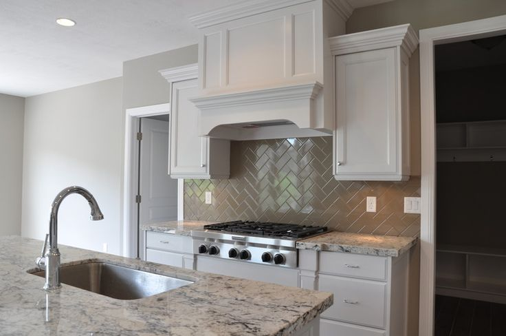 White Kitchen Herringbone Backsplash herringbone backsplash - transitional - kitchen - kristin petro