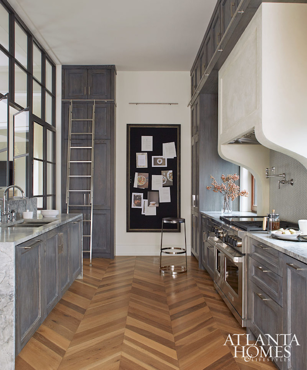Grey Kitchen Marble: Gray Distressed Kitchen Cabinets With Marble Herringbone