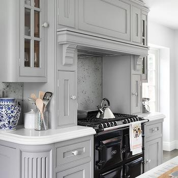 Stove with Spice Racks, Contemporary, Kitchen, Zoffany Paint Silver, Oliver Burns