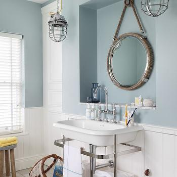 Nautical Style Bathrooms, Cottage, Bathroom, Zoffany Paint Dufour, Oliver Burns