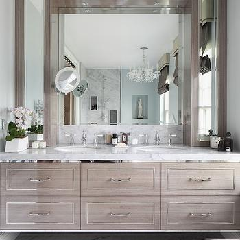 Gray Floating Vanity, Transitional, Bathroom, Zoffany Paint La Seine, Oliver Burns