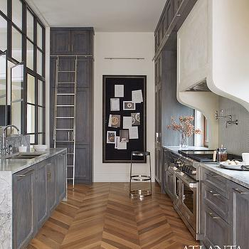 Wood Herringbone Pattern Floor View Full Size Fantastic Kitchen Boasts Distressed Gray Cabinets