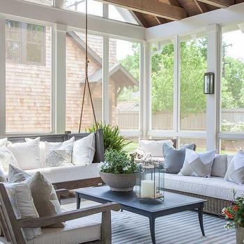 Sunroom with Hanging Sofa, Transitional, Deck/patio, Julie Couch Interiors