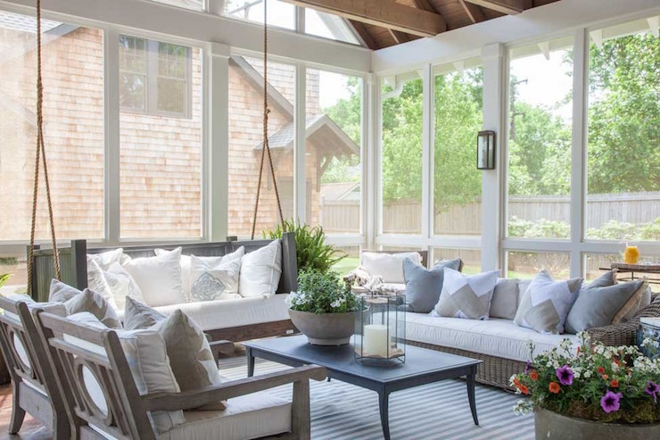 Sunroom With Hanging Sofa Transitional Deckpatio