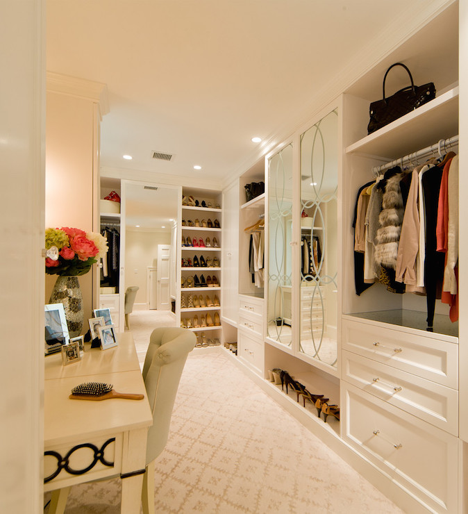 Charming Makeup Vanity In Closet
