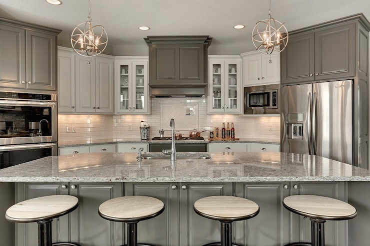 Moon White Granite Countertops  Transitional  Kitchen  Benjamin