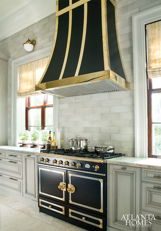 Black Kitchen Hood With Brass Trim Transitional