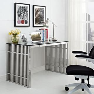 Gridiron Stainless Steel Silver Desk