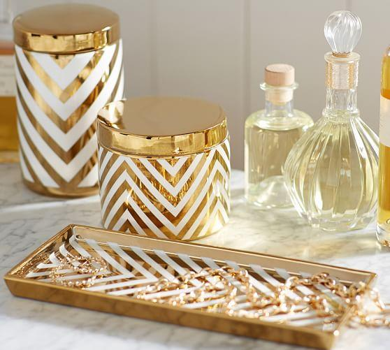 gold and white bathroom accessories. Gold Chevron Accessories