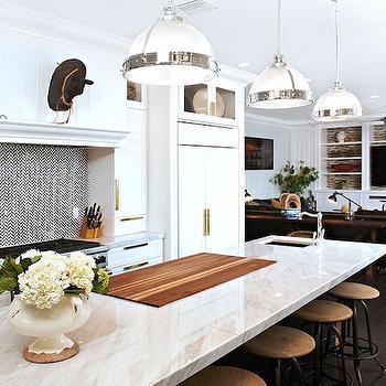 Black and White Herringbone Tiles, Contemporary, Kitchen, Intimate Living Interiors