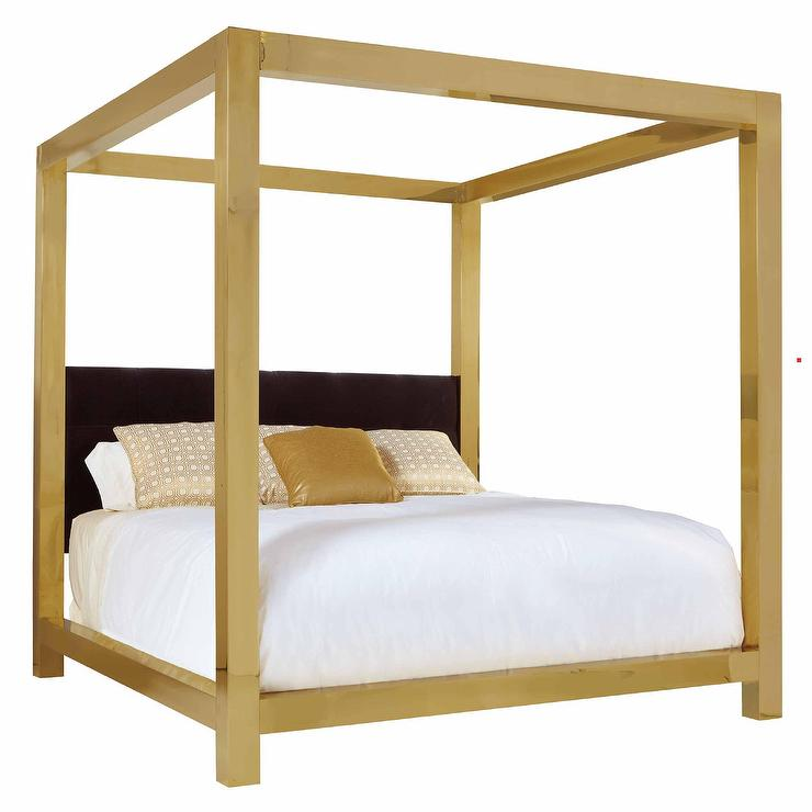 ivory upholstered brass frame king bed On brass canopy bed frame
