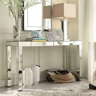 Marvelous Inspire Q Fascual 2 Drawer Silver Mirrored Console Table. Overstock.com