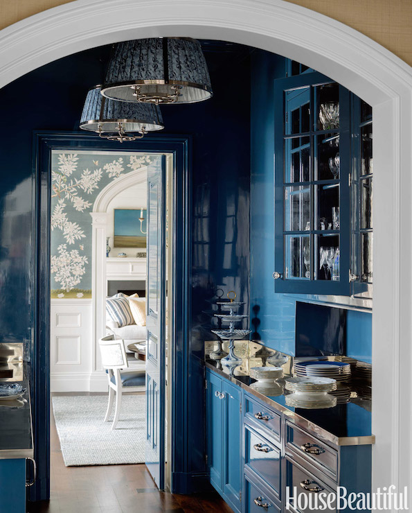 Blue Lacquer Kitchen Cabinets With Beadboard Trim Backsplash