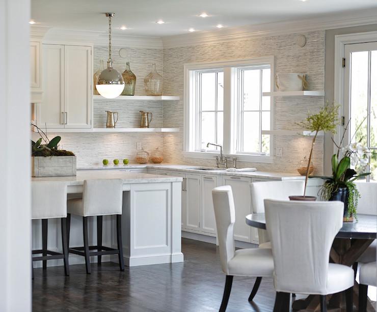 White Stone Backsplash Kitchen mottled gray and white backsplash design ideas
