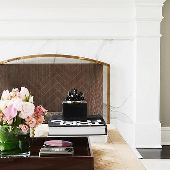 Fireplace with Herringbone Firebox, Transitional, Living Room, Zhush
