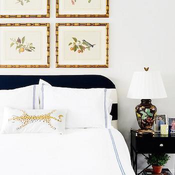 Black and White Stripe Headboard, Transitional, Bedroom, Zhush