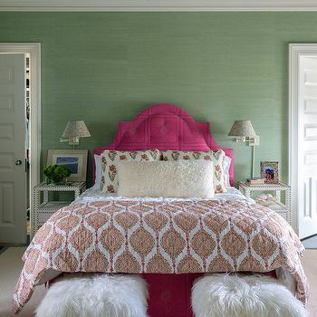 Hot Pink Headboard, Contemporary, Girl's Room, House Beautiful