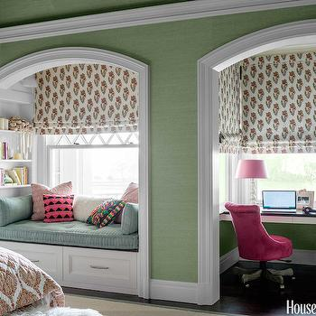 Window Seat in Alcove, Transitional, Girl's Room, House Beautiful