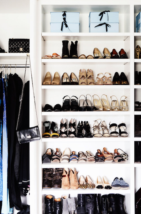 Ordinaire Master Bedroom Closet Features Floor To Ceiling Built Ins Boasting Shelves  For Shoes And Boots Beside A Shelf Reserved For Displaying Handbags Over  Clothes ...