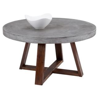 Tremendous Sunpan Devons Rustic Concrete Grey And Brown Round Coffee Table Interior Design Ideas Gentotryabchikinfo
