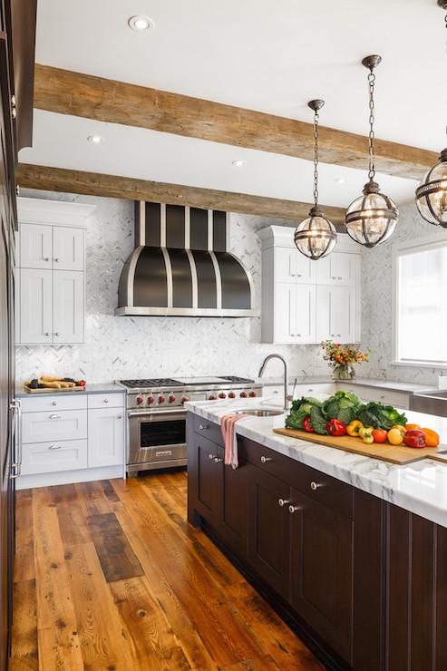 Espresso Stained Kitchen Island Transitional Kitchen Astro Design Center