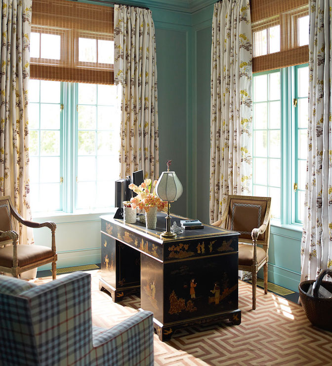 chinoiserie office features turquoise walls accented with turquoise trim moldings framing windows dressed in yellow and brown print curtains layered over