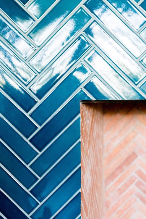 Blue Herringbone Tiles - Transitional - Living Room - Anik ...
