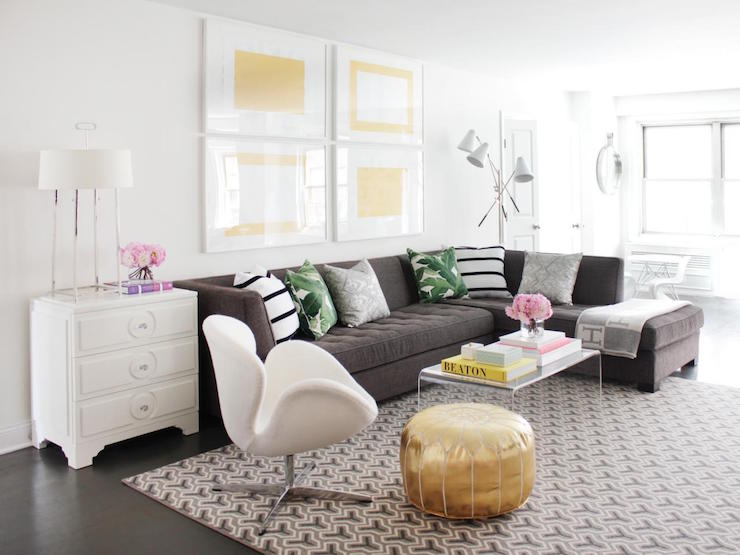 White Sectional Transitional Living Room The Cross