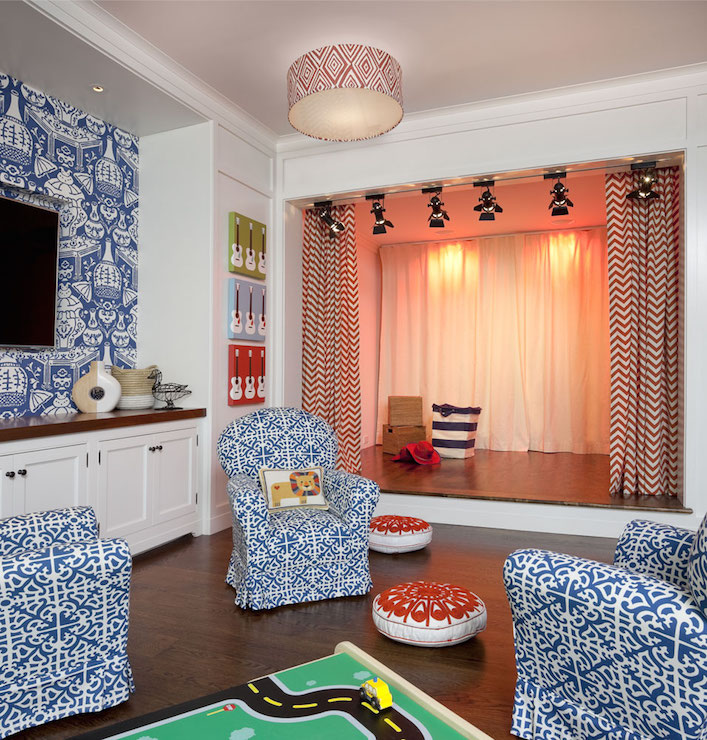 playroom and homework room with curved banquette - transitional