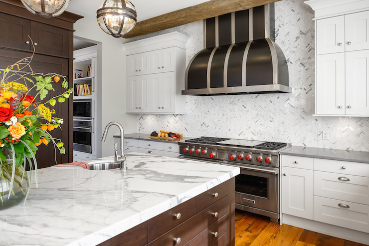 Kitchen Backsplash Height full height marble backsplash - contemporary - kitchen - house & home