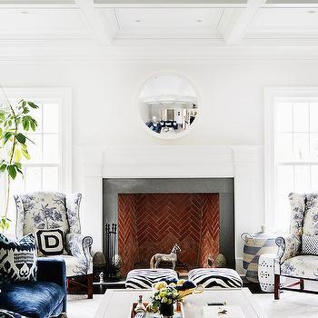 Brick Herringbone Firebox, Transitional, Living Room, Zhush