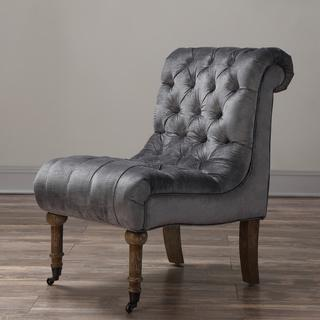 Vivi Grey Velvet Slipper Chair, Overstock.com