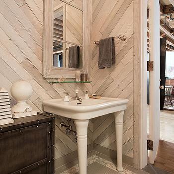 Herringbone Pattern Walls, Transitional, Bathroom, Anik Pearson Architect