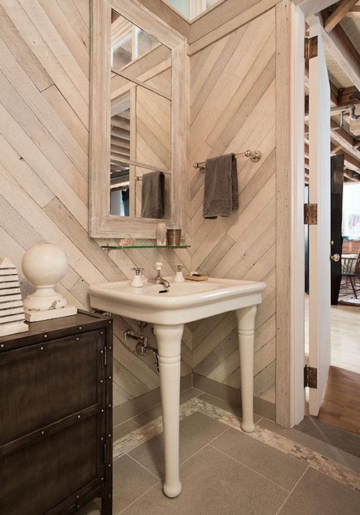 Herringbone Pattern Walls Transitional Bathroom Anik