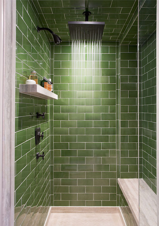 Angled Shower Room with Green Subway Tiles - Transitional - Bathroom