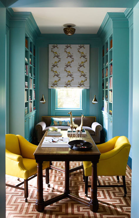 Turquoise Office Ideas Transitional Den Library Office