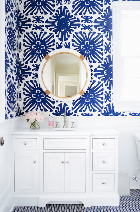 White and blue powder room with blue penny tile floor transitional