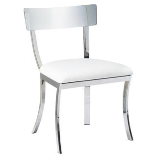 Sunpan Maiden White And Silver Stainless Steel Chair