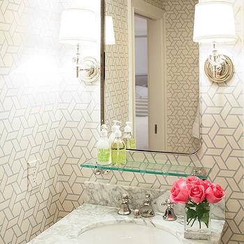 Gray Trellis Wallpaper, Transitional, Bathroom, Delicious Designs
