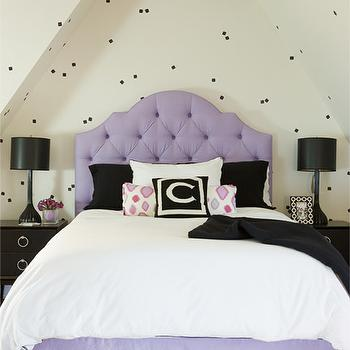 Purple Tufted Headboard, Transitional, Girl's Room, Cuff Home
