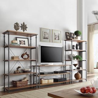 TRIBECCA HOME Myra Vintage Industrial Modern Rustic 3-piece TV Stand and 40-inch Bookcase Set, Overstock.com