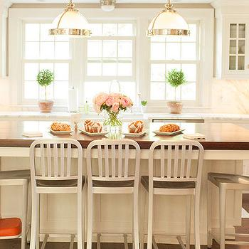 Island with Industrial Counter Stools, Transitional, Kitchen, Delicious Designs