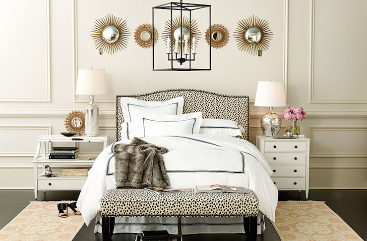 Bedroom With Mismatched Nightstands Transitional