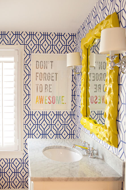 Kids bathroom wallpaper design ideas for Miroir original