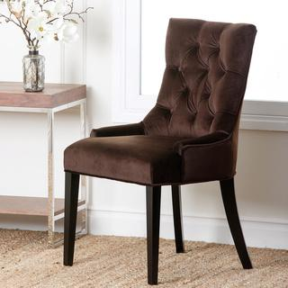 Abbyson Living Napa Dark Brown Microsuede Tufted Dining Chair