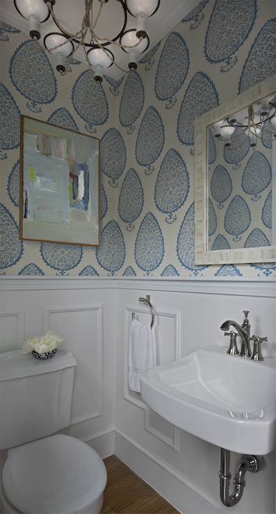 Powder Room with Wainscoting - Transitional - Bathroom - Cloth and on wallpaper walls designs, wallpaper paneling designs, wallpaper paint designs, wallpaper tile designs, wallpaper home designs, wallpaper trim designs, wallpaper kitchen designs, wallpaper bathroom designs, wallpaper ceiling designs,