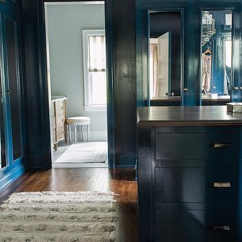 Peacock Blue Cabinets, Transitional, Closet, Farrow and Ball Hague Blue, Cloth and Kind
