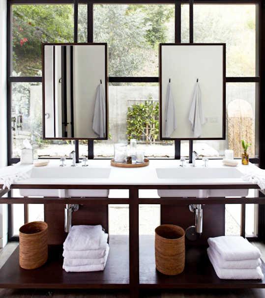Vanity Mirrors Over Windows - Transitional - Bathroom ...